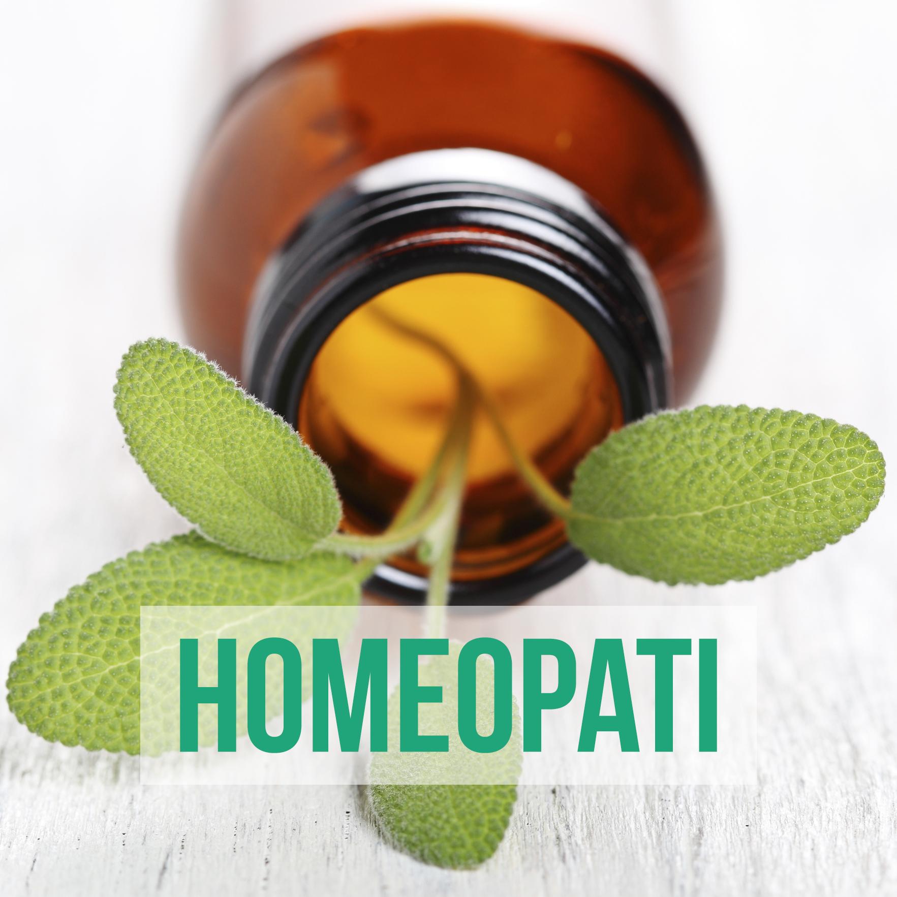 Homeopati - burk med gröna blad